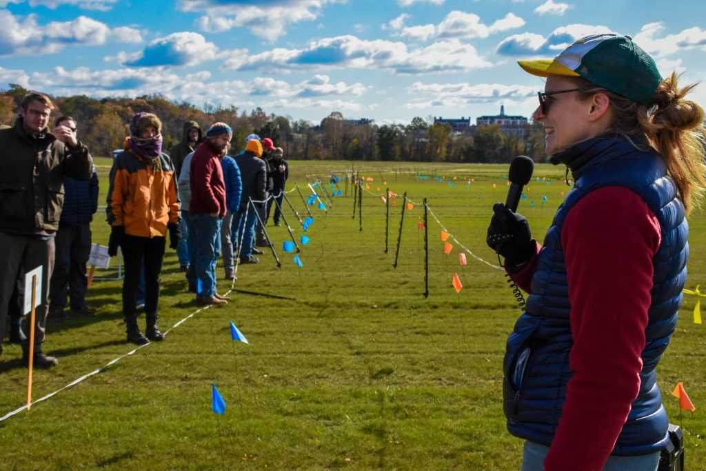 Attendees view cover crop breeding plots at a NECCC field day.
