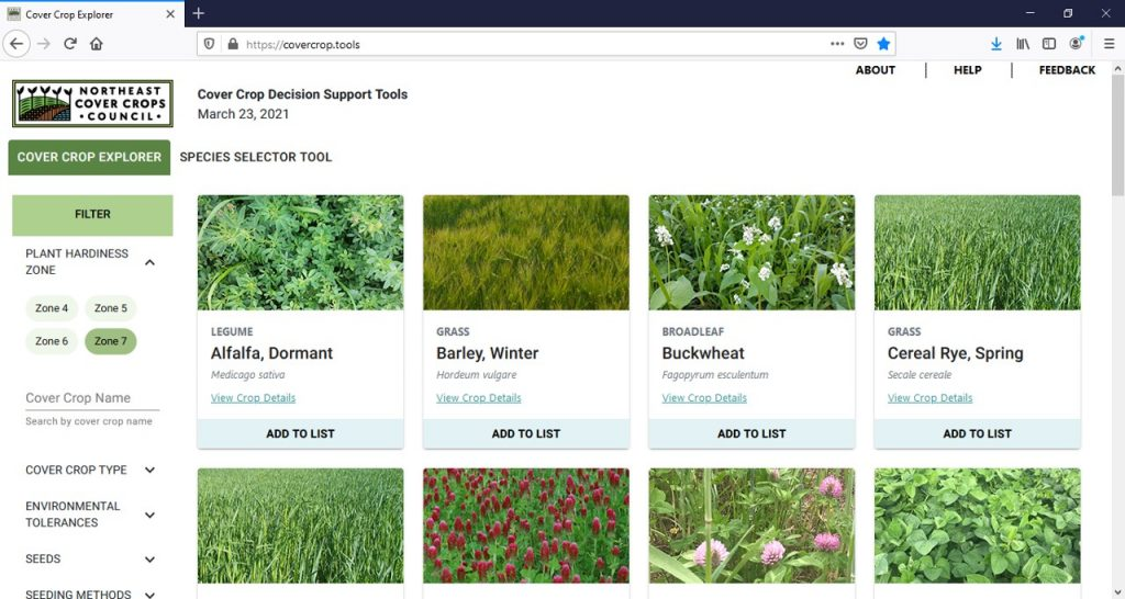 Screenshot of the NECCC Cover Crop Species Selector Tool.